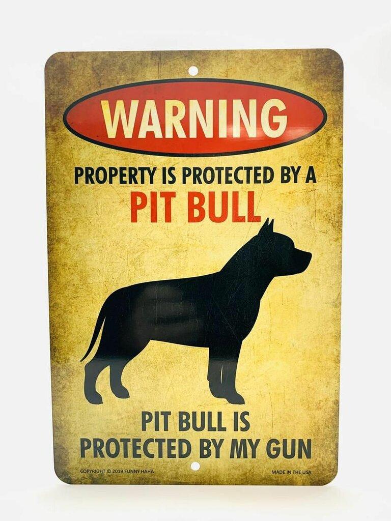 Beware of Pit Bull Funny Metal Sign.jpeg